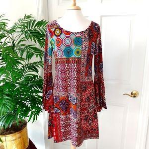 Haani Patchwork Bell Sleeve Mini Dress Medium
